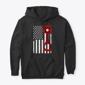 Classic Pullover Hoodie American Flag Red Piston Nthefastlane