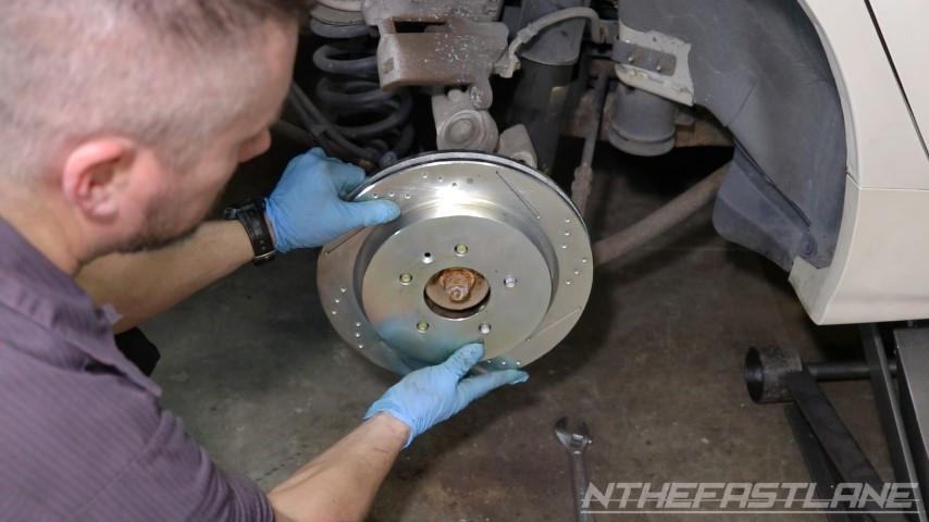 Installing new brake rotor