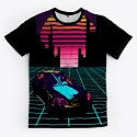 80's Retro Futuristic City All over-prin