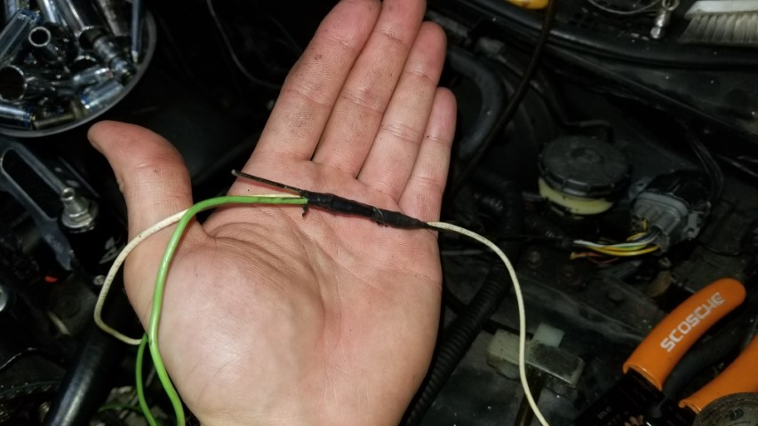 Tapped Wire To Rod That Was Sent Through Fire Wall