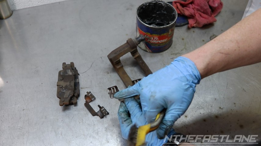 Clean or replace brake clips