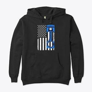 Eco Unisex Hoodie American Flag Blue Piston Nthefastlane