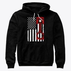Premium Pullover Hoodie American Flag Red Piston Nthefastlane