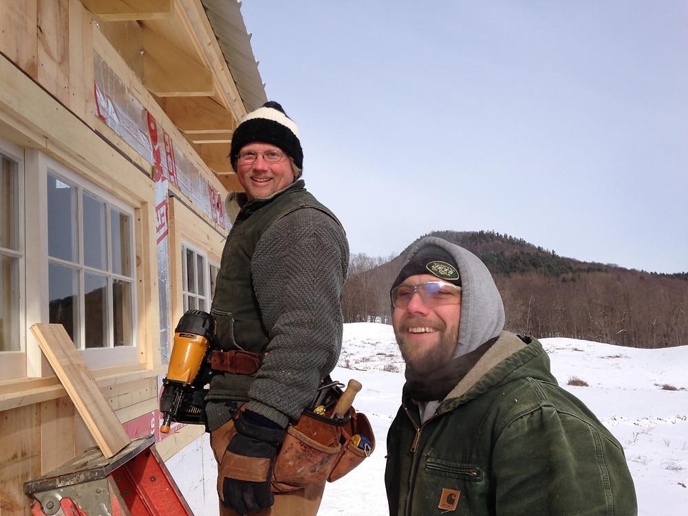 Collin & Michael - true Vermonters working in subzero and high winds!