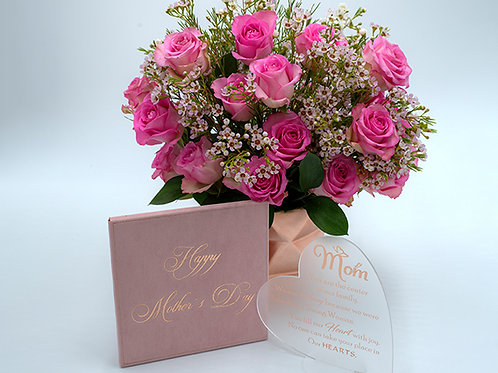 Darline bouquet + Frosted and rose gold acrylic heart shape Mother's Day card