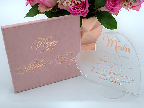 Frosted and rose gold acrylic heart shape Mother's Day card