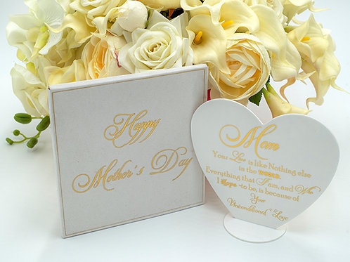 White and Gold acrylic heart shape Mother's Day card  Day Baskets