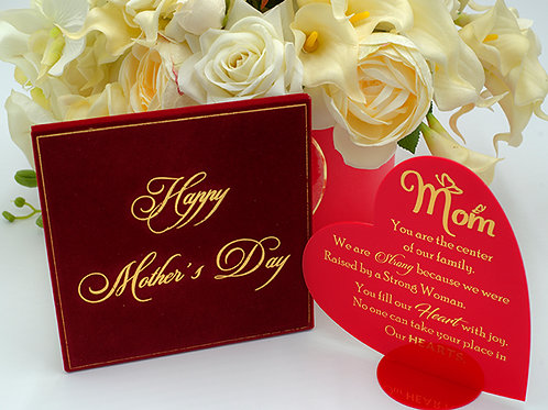 Red and Gold acrylic heart shape Mother's Day card