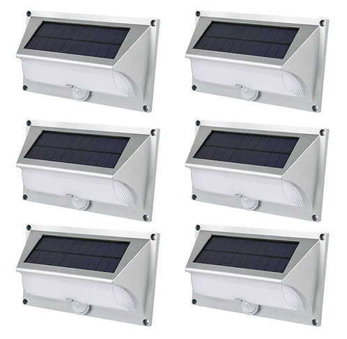 Kit com 6 Arandelas Solares ABS com Sensor de Presença