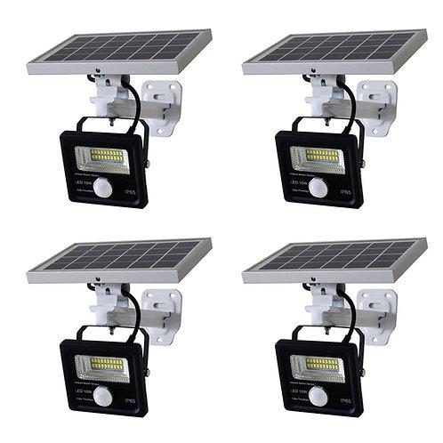 Kit com 4 Refletor Solar 10 W com Sensor de Presença e Suporte