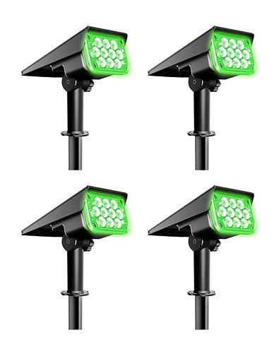 Kit com Luminária Solar Spot 7 W Verde para Piso, Gramado ou Parede 500 Lúmens