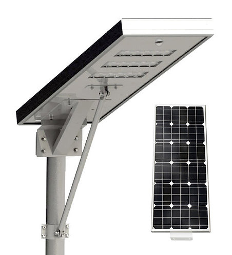Luminária Solar 80 W All in One para postes de 7 a 8 m 11000 Lúmens