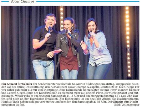 Vocal Champs Startschuss in der Presse (14.09.2019)