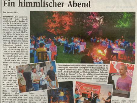 """""""Ein himmlischer Abend"""" (WN 10.08.20)"""