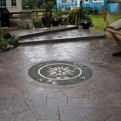 paverart custom inlay, patio, design, hardscaping, compass rose, compass rose kit, nautical pavers, pavers