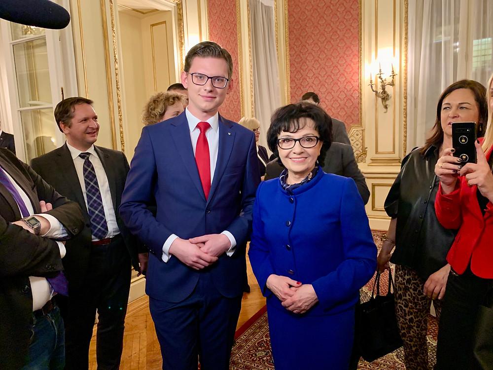 Jakub J. Staniewski, President of the Polish Youth Association with Marshal of the Sejm of Poland Elżbieta WItek