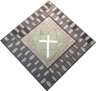 Cross Within Heart With Engraved Border