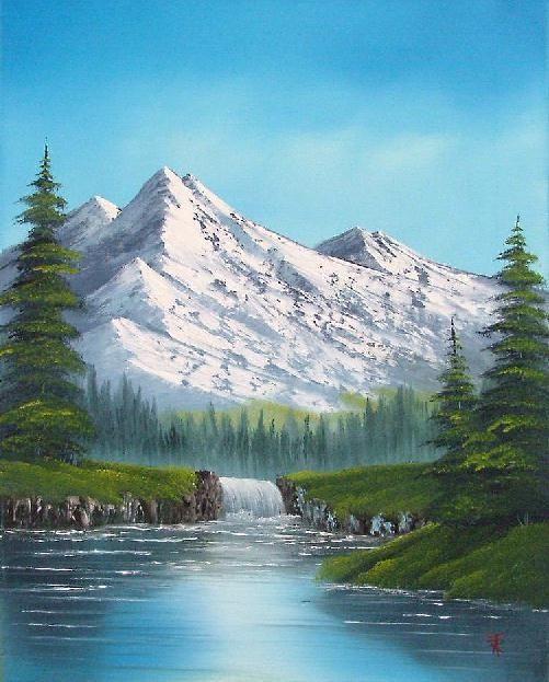 Obraz malowany przez uczestników warsztatów przedstawiałscenkę rzeki z górami w tle.