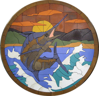 Leaping Marlin At Sunset - SKU:  AML001SP1