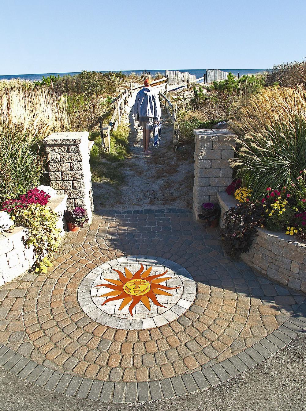 Patio Inlay, PAVERART, PAVERART Inlay, Hardscaping, Beachfront, patio, pavers, paver kit
