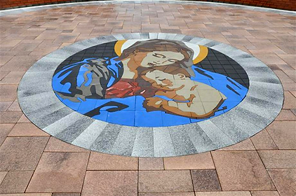 PAVERART Religious Series of custom inlay designs for outdoor living areas