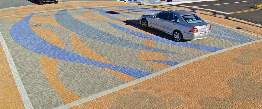 streetscape, decorative intersection, paverart, custom pavers, landscape architecture
