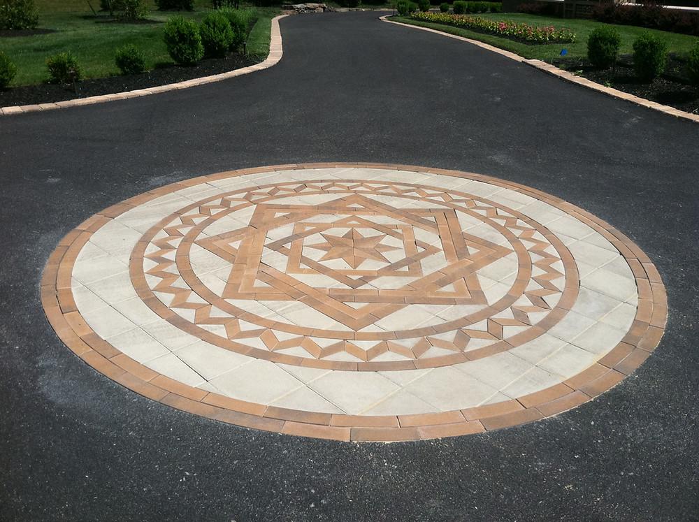 designer driveway, PAVERART, inlay, landscape design, landscape architecture, outdoor living