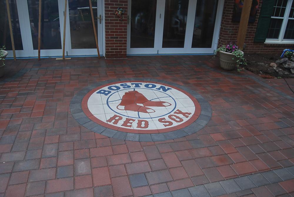 patio, pavers, inlay, patio inlay, PAVERART, hardscaping, outdoor living, red sox paver logo