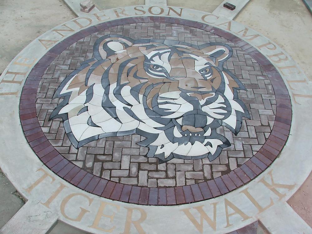 paverart, paverlogo, school hardscaping, landscape design, landscape architecture, tiger walk
