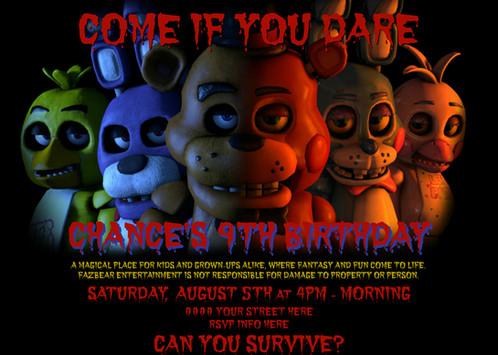 Five Nights At Freddys Birthday Invitation