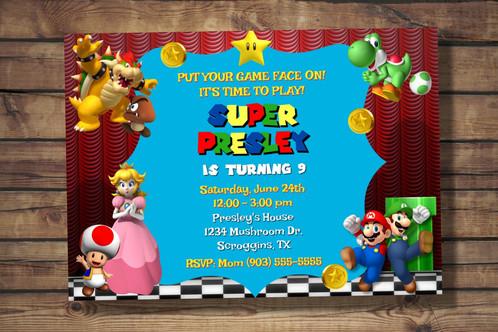 Super Mario Party Invitation Digital File