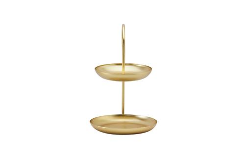 ถาดขนม 2 ชั้น / 30 * 21 * 16 cm. / 0.6kg. / Gold