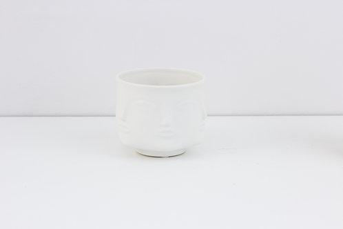 Flowerpot / Human Face / Matte White