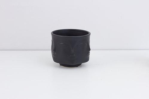 Flowerpot /  Human Face /  Matte Black