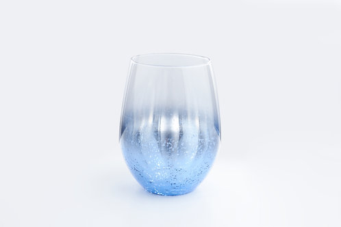 Egg shaped glass / metalic blue