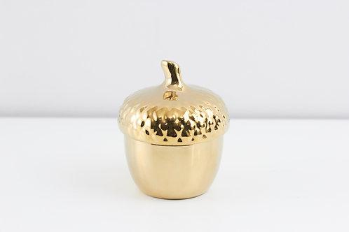 Jewelry box/ hazelnut / Gold + Gold cover