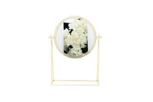 กระจกกลม ตั้งโต๊ะ /15.5 * 23.5 cm. /  gold
