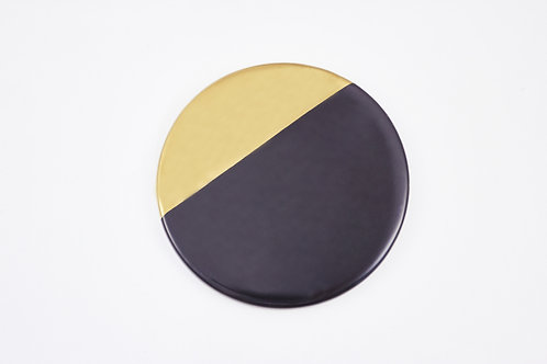 จานรองแก้วหินอ่อน ขอบทอง / สีดำ /แบบกลม / ขนาด 9.3 ซ.ม.