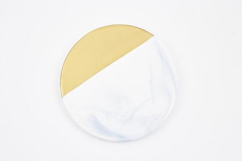 จานรองแก้วหินอ่อนขอบทอง  /สีขาว /แบบกลม /ขนาด 9.8 ซ.ม.