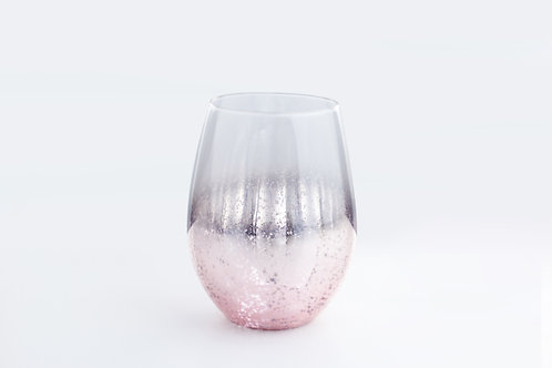 Egg shaped glass / metalic pink