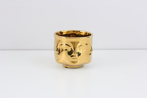Flowerpot / Human Face /  Shiny gold