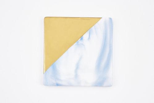 จานรองแก้วหินอ่อน ขอบทอง / สีฟ้า / แบบสี่เหลี่ยม /ขนาด 9.3 ซ.ม.