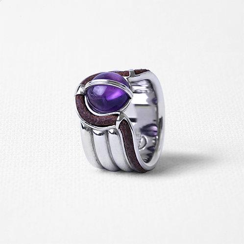 Широкое кольцо OCULUS с аметистом