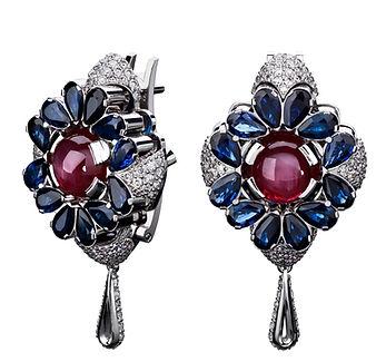 Серьги Spring с бриллиантами, рубинами и сапфирами от Hako HamHov