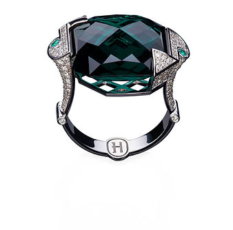 Кольцо Green из коллекции GV с бриллиантами и зеленым кварцем