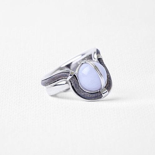 Кольцо OCULUS с голубым агатом