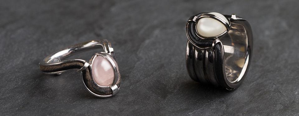 Кольцо Oculus из серебра с кахолонгом и кожаными вставками от Hako HamHov