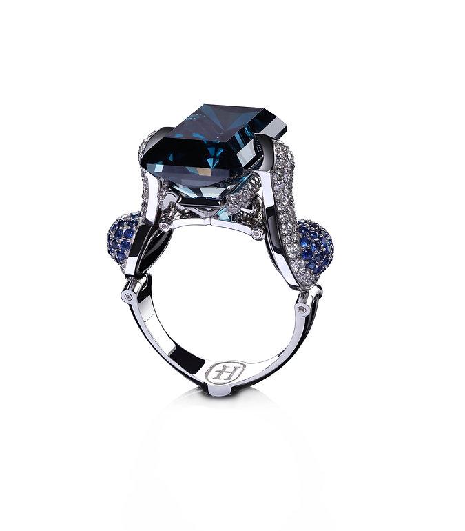 "Кольцо ""Голубая лагуна"" из коллекции ""GV"" от Hako HamHov"