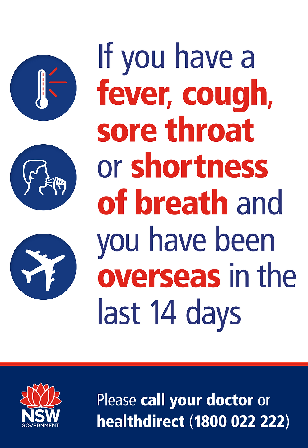 Poster with warning: if you have a symptoms of COVID-19 you should call your doctor or health direct