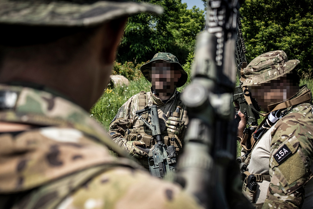 Zello and UHF Used in Airsoft Milsim - PTTs on Multicam Uniforms - PoC PTToC
